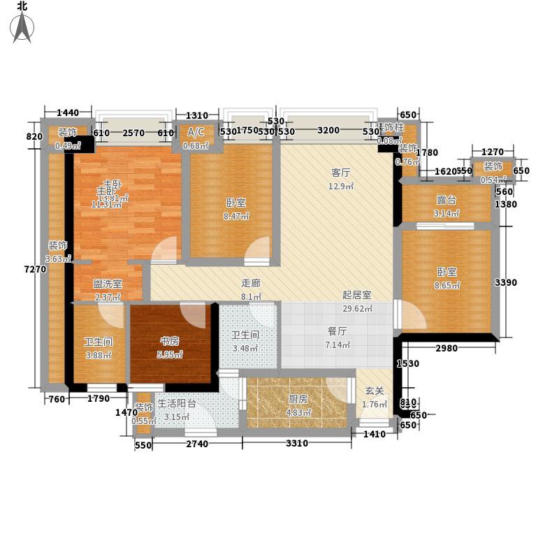 誉峰95.00㎡二期14号楼标准层A3户型
