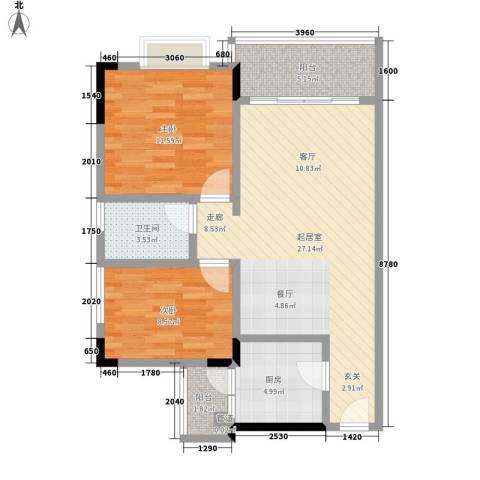 城市假日园2室0厅1卫1厨72.00㎡户型图