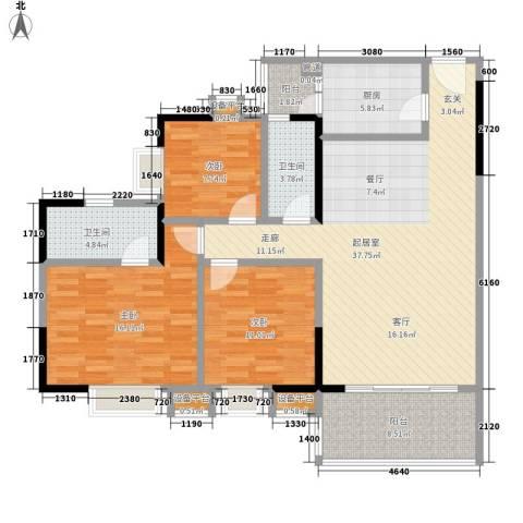 城市假日园3室0厅2卫1厨112.00㎡户型图