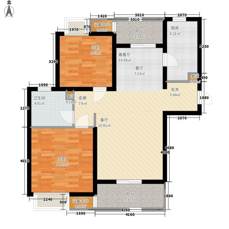 太湖国际社区88.81㎡聆湖E1户型2室2厅