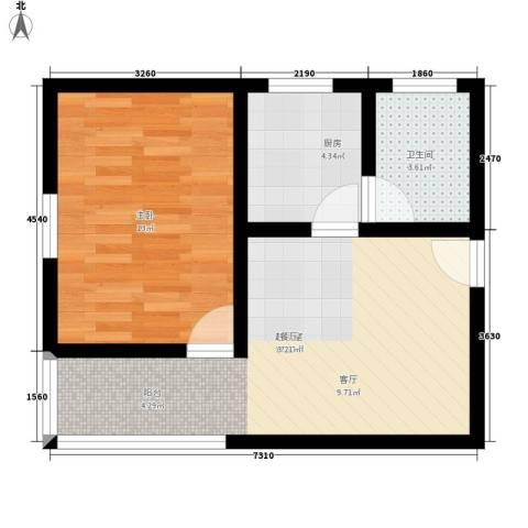万方园1室0厅1卫1厨44.00㎡户型图