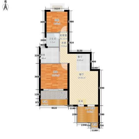 鸿坤理想海岸2室0厅1卫1厨108.00㎡户型图