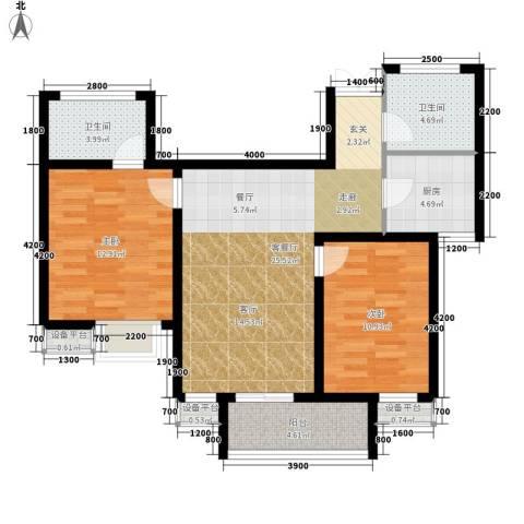 西延小区2室1厅2卫1厨101.00㎡户型图