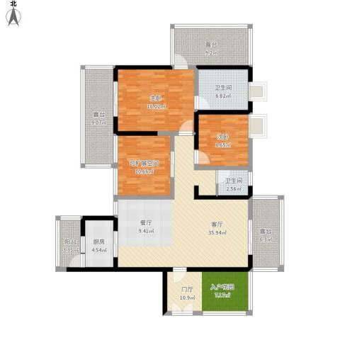 城市春天2室1厅2卫1厨180.00㎡户型图