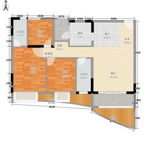 会展西岸3室0厅2卫1厨112.00㎡户型图
