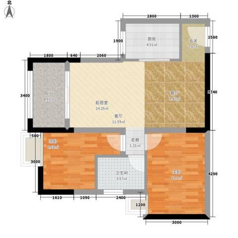 綦江银海新城2室0厅1卫1厨74.00㎡户型图