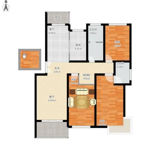 贝越流明新苑3室1厅2卫1厨134.00㎡户型图