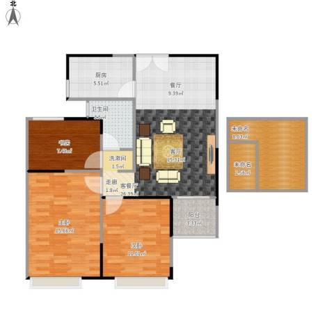绿地新都会3室1厅1卫1厨113.00㎡户型图