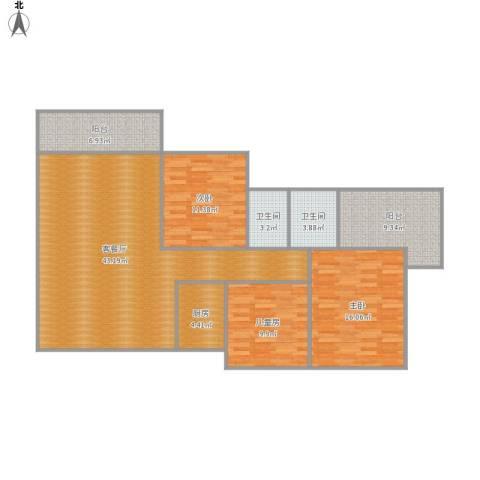 三远大爱城3室1厅2卫1厨145.00㎡户型图