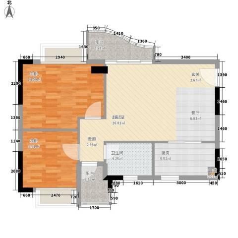 阳光假日园2室0厅1卫1厨75.00㎡户型图
