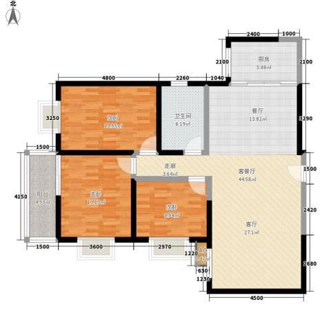 逸翠园3室1厅1卫1厨122.00㎡户型图