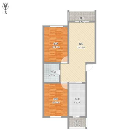 普天东里2室1厅1卫1厨102.00㎡户型图