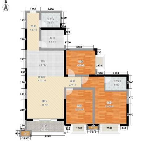 逸翠园3室1厅2卫1厨136.00㎡户型图