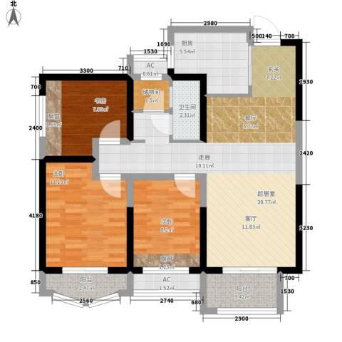 天山熙湖3室0厅1卫1厨111.00㎡户型图
