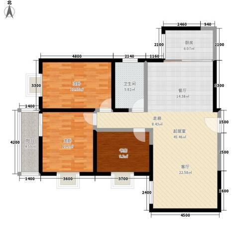 枫叶高层3室0厅1卫1厨122.00㎡户型图