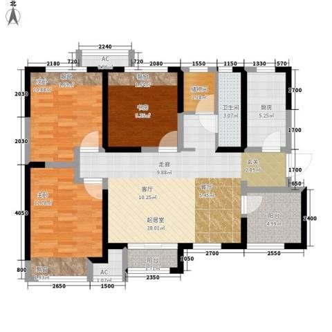 天山熙湖3室0厅1卫1厨118.00㎡户型图