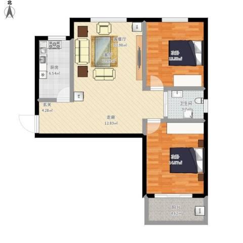 澜点家园2室1厅1卫1厨110.00㎡户型图