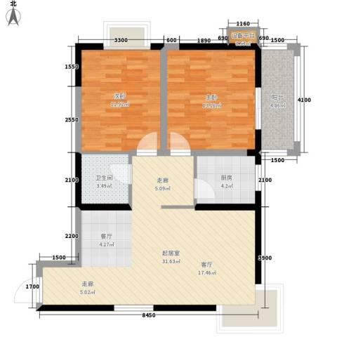 枫叶高层2室0厅1卫1厨96.00㎡户型图
