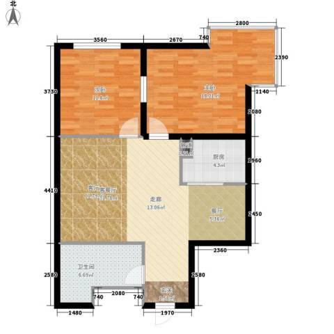 红人公馆2室1厅1卫1厨77.00㎡户型图