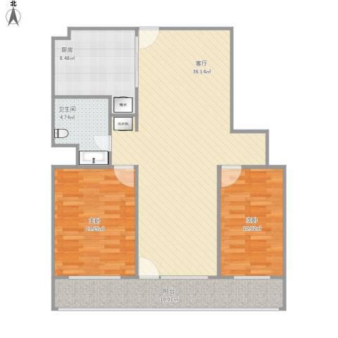 机电公司宿舍2室1厅1卫1厨111.00㎡户型图