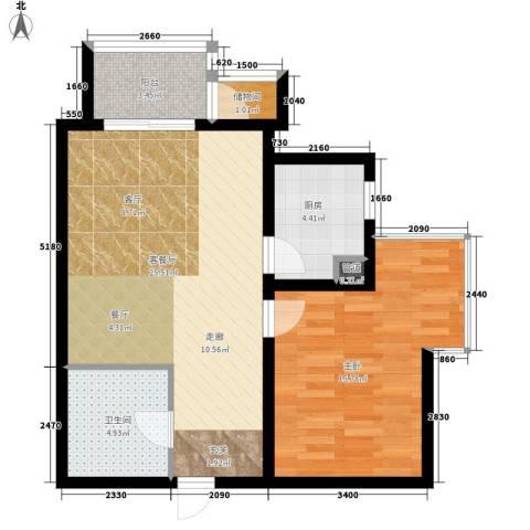 红人公馆1室1厅1卫1厨79.00㎡户型图