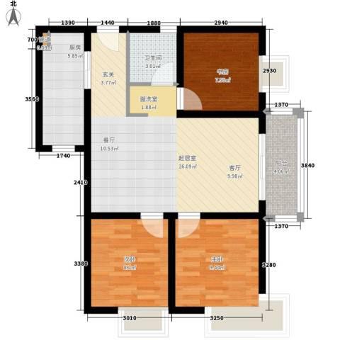 太白小区3室0厅1卫1厨88.00㎡户型图