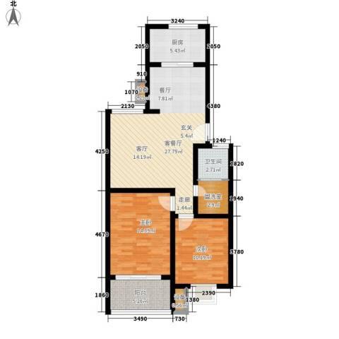 聚福园2室1厅1卫1厨81.00㎡户型图