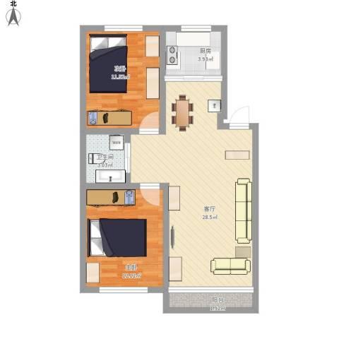 良筑名邸2室1厅1卫1厨88.00㎡户型图