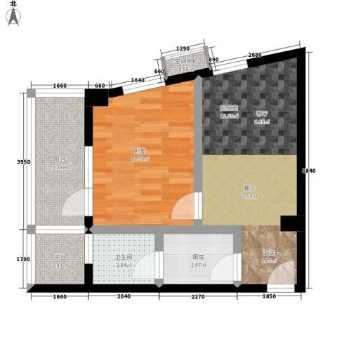 豪岗公寓1卫1厨45.00㎡户型图
