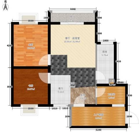 左岸春天2室0厅1卫1厨91.00㎡户型图