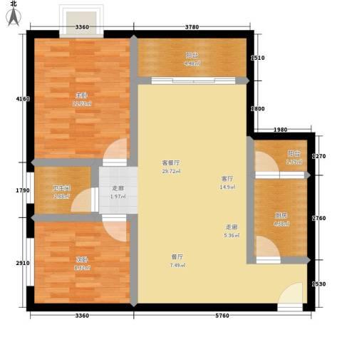 新都广场2室1厅1卫1厨81.00㎡户型图