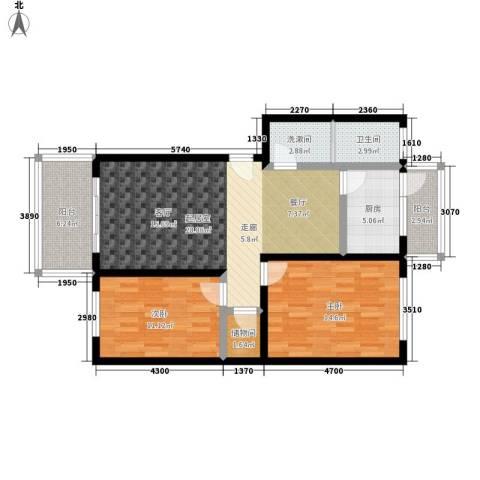 豪岗公寓2室0厅1卫1厨89.00㎡户型图