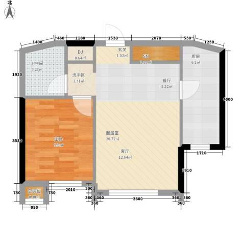 嘉润蓝湾1室0厅1卫1厨60.00㎡户型图