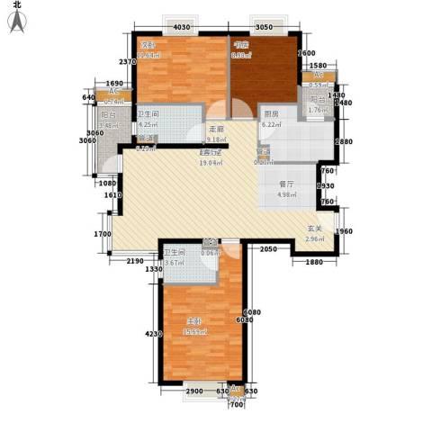 中建群贤汇3室0厅2卫1厨125.00㎡户型图