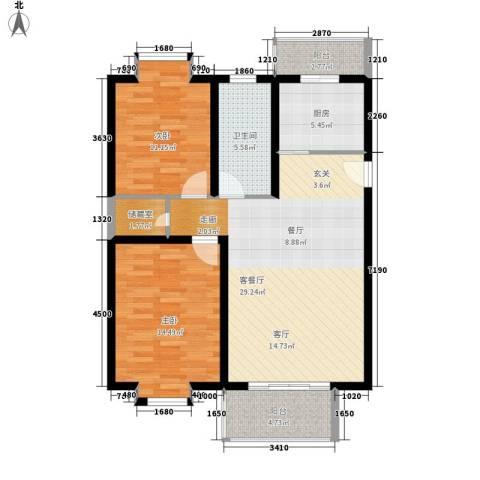 天琪雅居2室1厅1卫1厨84.00㎡户型图