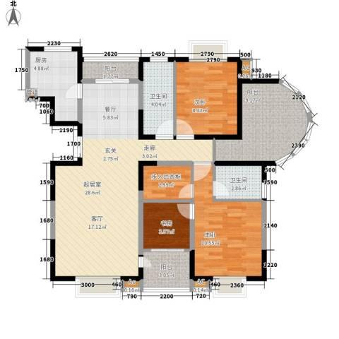 世家星城3室0厅2卫1厨93.00㎡户型图
