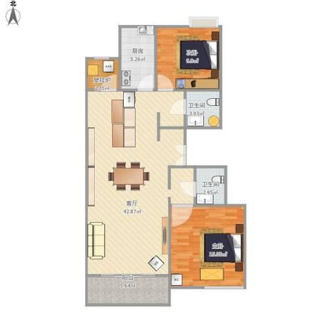 百旺茉莉园2室1厅2卫1厨117.00㎡户型图