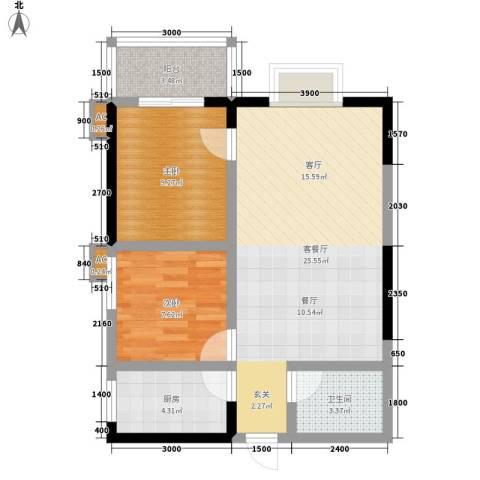 逸翠园2室1厅1卫1厨75.00㎡户型图