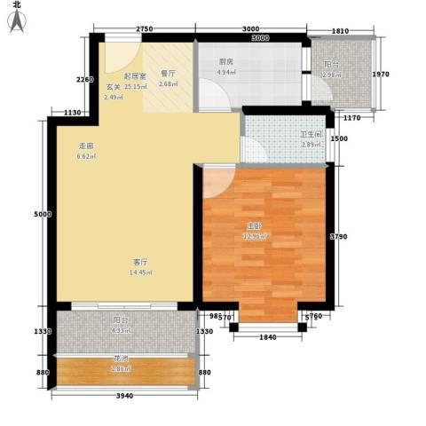 鸿坤理想海岸1室0厅1卫1厨80.00㎡户型图