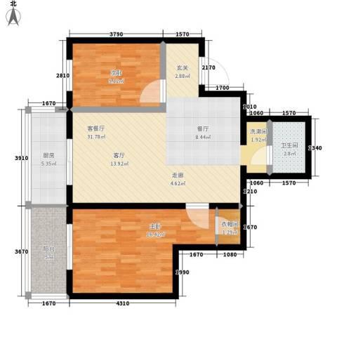 左邻右舍2室1厅1卫1厨83.00㎡户型图
