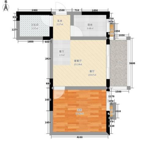 逸翠园1室1厅1卫1厨50.00㎡户型图