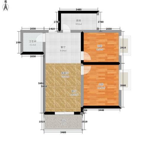 南小巷家属院2室1厅1卫1厨65.00㎡户型图