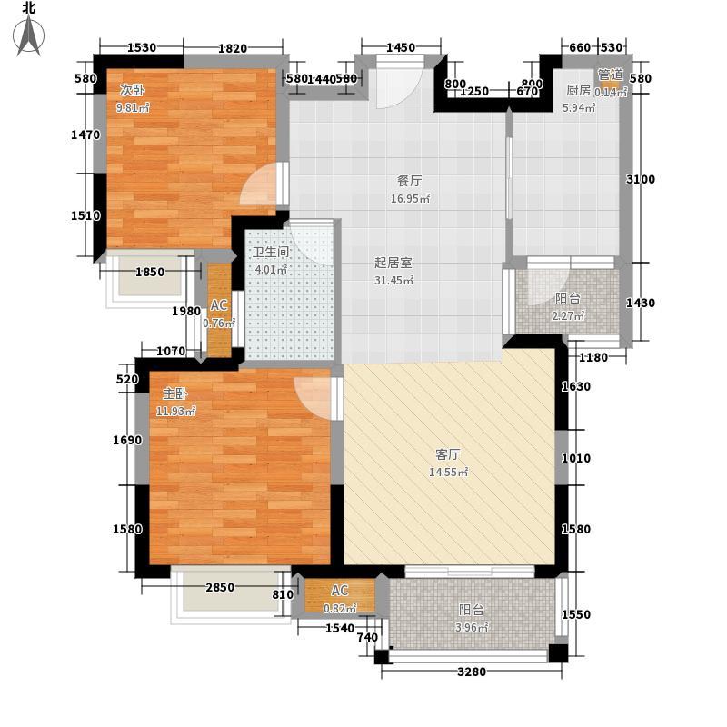 首开悦澜湾82.00㎡三期高层26#、面积8200m户型
