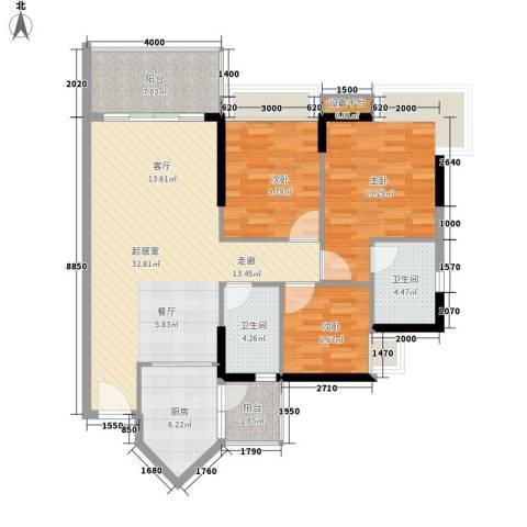 可逸豪苑3室0厅2卫1厨98.00㎡户型图