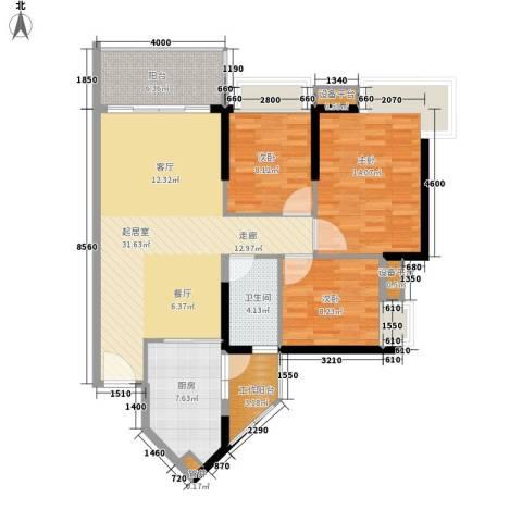 可逸豪苑3室0厅1卫1厨102.00㎡户型图