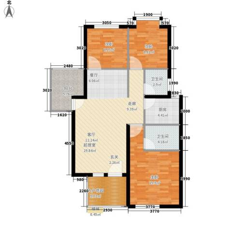 鸿坤理想海岸3室0厅2卫1厨120.00㎡户型图
