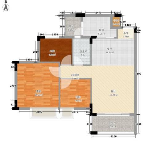 阳光假日园3室0厅1卫1厨82.00㎡户型图