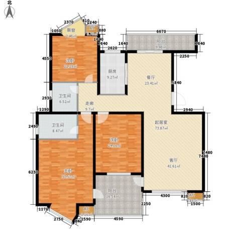 华城大厦3室0厅2卫1厨231.00㎡户型图