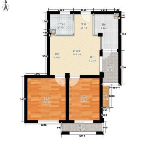 镜湖花园2室0厅1卫1厨70.00㎡户型图