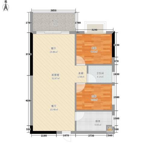 惠百氏广场2室0厅1卫1厨69.00㎡户型图